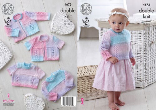 Knitting pattern baby long ou à manches courtes pulls cardigans king cole dk 4673