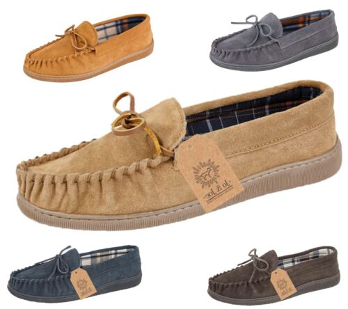 Mens Real Suede Leather Moccasin Slippers Loafers Casual Shoes