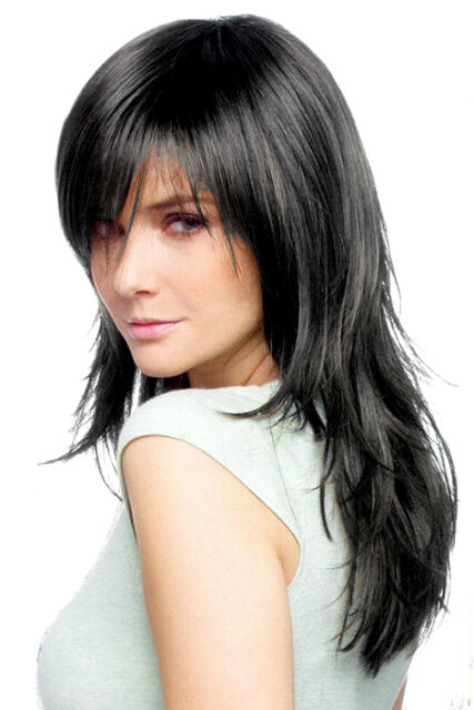 Ladies Long Black Wig  in Tapered Style ! VOGUE Fashion Wigs UK !