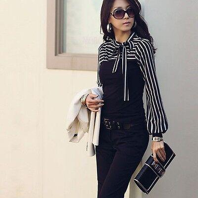 New Long Sleeve T-shirt Shirt Black Bowknot Striped Tops White Blouse S M L XL Z