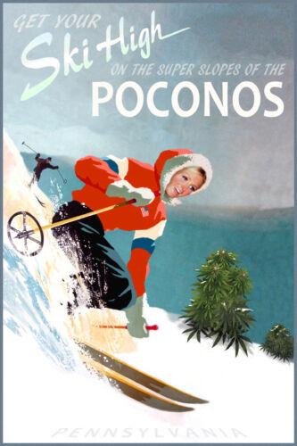 Poconos Pennsylvania Snow Ski Travel Poster Retro Paris Mountain Art Print 329