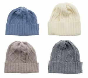 5b1b69912c8 Image is loading Lambswool-Cable-Knit-Beanie-Hat-Cream-Grey-Blue-