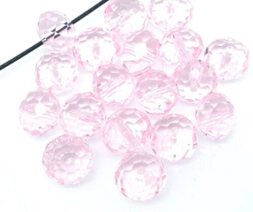10 perles facettes cristal bohème rose clair 10mm x 7,4mm PERLE FANTAISIE