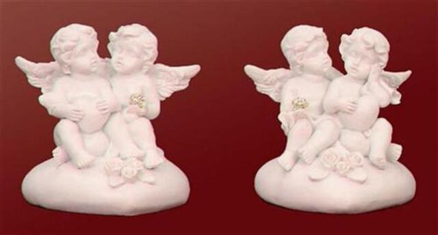 6 Engel auf Herz je 7cm mit Kugel in Diamantform