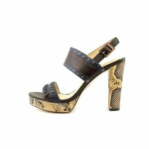 Vince-Camuto-Signature-Vera-Women-039-s-Brown-Snake-Navy-Leather-Dress-Sandals