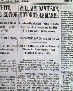 HARLEY-DAVIDSON-Motorcycle-Company-Founder-William-A-DEATH-1937-Old-Newspaper
