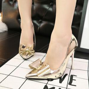 9650 Donna Oro 10 Cm Stiletto Eleganti Gold Simil Decolte Scarpe Pelle 5PFSv