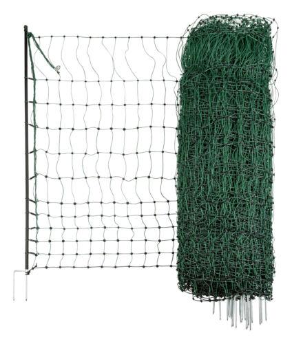 elektrisch leitend 50 m 112cm Doppelspitze Euro-Netz Geflügelnetz grün