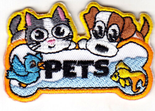 """/""""PETS/"""" Iron On Patch Animals Dogs Cats Puppies Birds Fish Hamsters"""