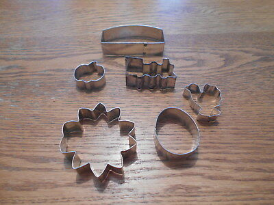 100% Kwaliteit 6 Pc. Random Vintage Metal Cookie Cutter Set~train,egg, Flower, Chick, Sign, Pum Met Traditionele Methoden
