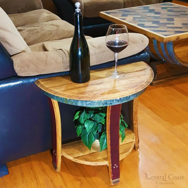 Phenomenal Small Half Moon Wine Barrel End Sofa Chair Side Wall Table Rustic Furniture Home Bralicious Painted Fabric Chair Ideas Braliciousco