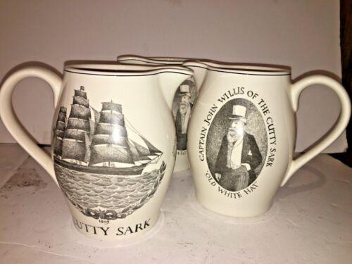 "VTG CUTTY SARK Scotch Whisky Pub Jug Pitcher Old White Hat Capt John Willis 7"""