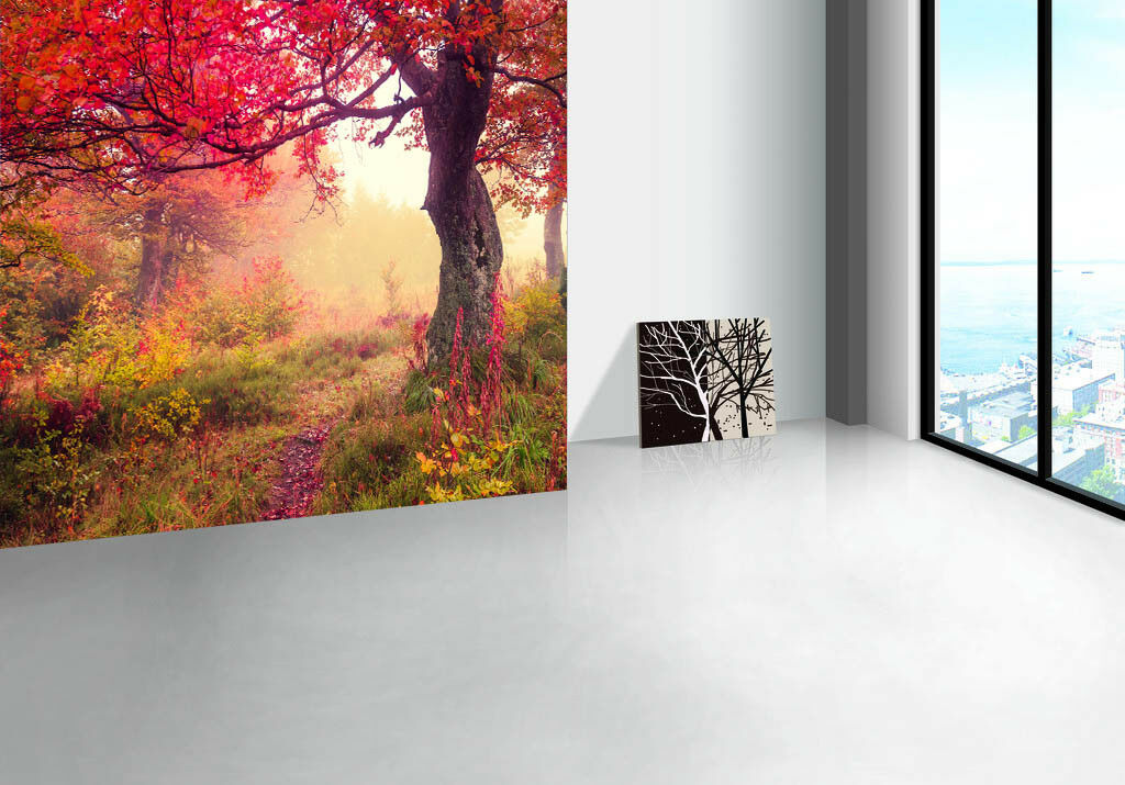 3D Foggy rot Tree 75 Wall Paper Murals Wall Print Wall Wallpaper Mural AU Lemon