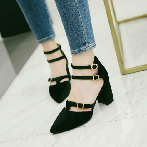 Details about  /Womens 1 Faux Suede Pointy Toe Buckle Strap Chunky Heel casual sandal Shoes