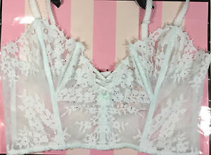 NWT Victorias Secret Dream Angels Wicked Uplift Floral Lace Eyelashes Blue Bra