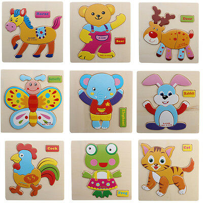 Lovely Wooden Blocks Animals Kids Children Cute Educational Toys Puzzle Cartoon