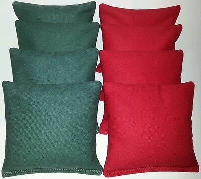 SET OF 8 ALL WEATHER  HUNTER GREEN & RED CORNHOLE BEAN BAGS FREE SHIPPING!!