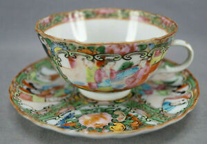 Late-19th-Century-Chinese-Export-Hand-Painted-Rose-Medallion-Tea-Cup-amp-Saucer-H