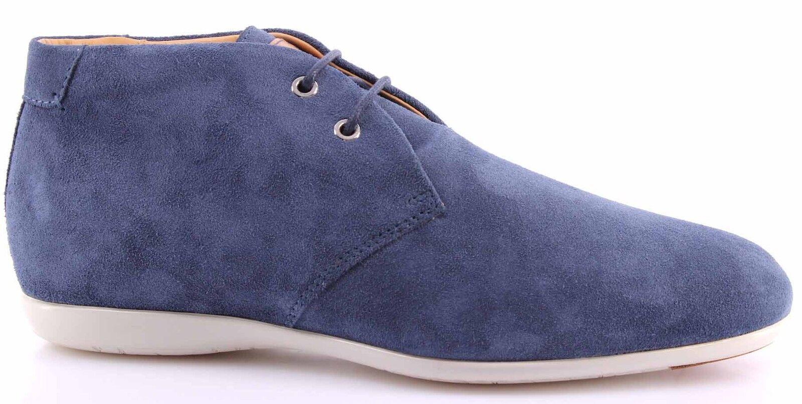 Uomo Ankle Stivali SANTONI Camoscio Blu Lusso Qualità Made In Italy Nuove