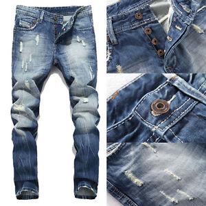 Men-039-s-Ripped-Skinny-Biker-Jeans-Destroyed-Frayed-Slim-Fit-Denim-Pants-Biker-Jean
