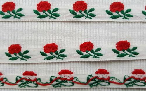 B//15mm reine Baumwolle 1900//20 uralte Rosen Blüten Borte Trachten u.s.w Antik