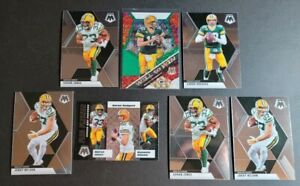 Green-Bay-Packers-2020-Panini-Mosaic-7x-Lot-w-Aaron-Rodgers-Green-Prizm-Jones