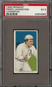 Rare 1909-11 T206 Paddy Livingstone Livingston Piedmont 350 Phila PSA 5 EX