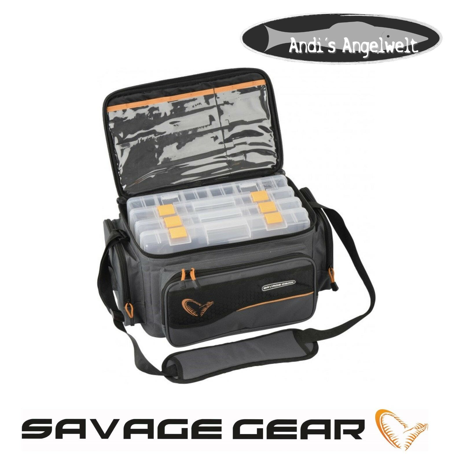 Savage Gear System Box Bag L mit 4 Boxen 54777