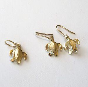 0.1 tcw fancy color diamond pendant & earring set 14K gold Sea Turtle DKP Design