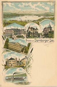 BAVARIA-Gruss-vom-Starnberger-See-Lake-Starnberg-Germany-udb-pre-1908