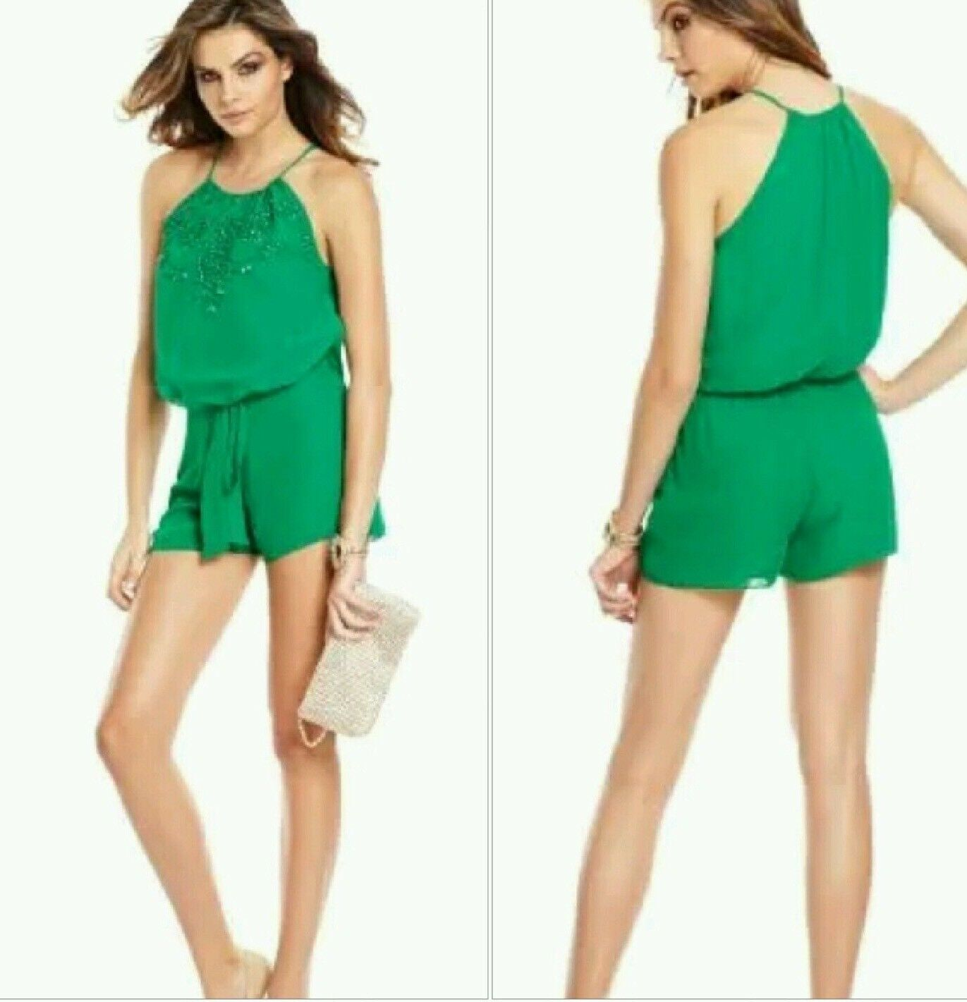 ☘NWT Guess by Marciano green Caliste Beaded Romper size 6☘