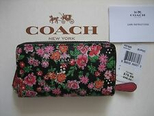 Coach Small Double Zip Coin Case Purse Posey Cluster Floral F57985 NWT