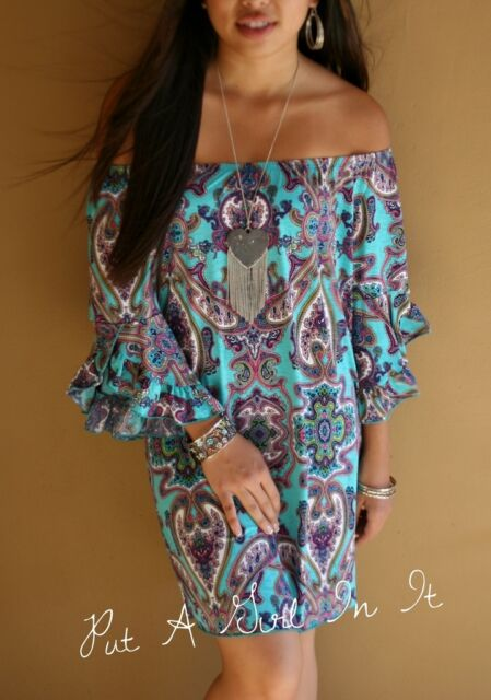 "PLUS SIZE OFF SHOULDER ""BLUE BAYOU"" PAISLEY TURQUOISE MINI DRESS TUNIC 1X 2X 3X"