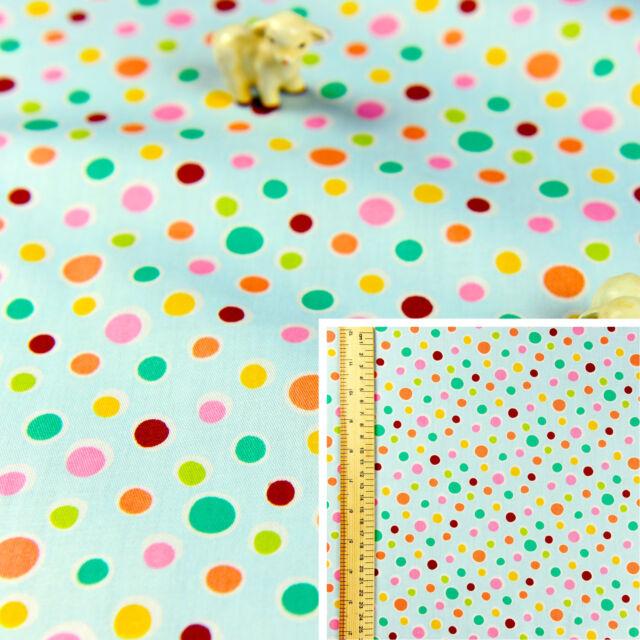 Blue Multicolour Fat Quarter/Meter | Cotton Fabric FQ | Polka Dot Bubbles Spotty