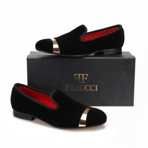 7fba5256f3b Men FERUCCI Black Slippers Loafers Flat With Gold Copper Buckle Band ...