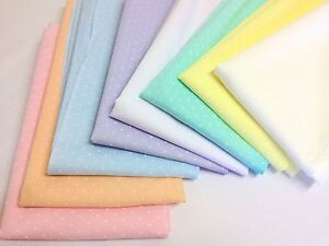 Tiny-Polka-Dot-Pastel-Polycotton-Fabric-Blue-Mint-Peach-White-Ivory-Pink-Lilac