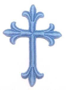 Vintage-Liturgico-Cruz-Bordado-para-Coser-Azul-Rosa-7-6cmx-10-2cm-Emblema-UTP-2