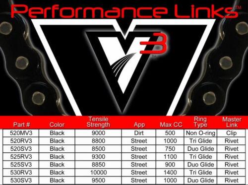 03-06 CBR600RR Vortex 520 SV3 15//45T Light Steel Sprocket /& Chain Kit Honda