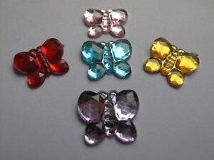 10-pzas-Paquete-Mariposa-Gemas-5-Colores-a-elegir-adorno-Tarjeteria-Topper