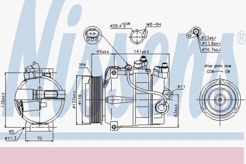Nissens 89200 AC Compressor fit MERCEDES C-CLASS W204  07