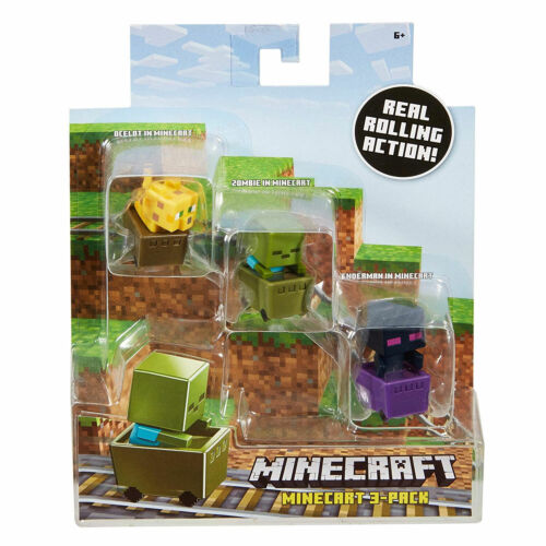 Minecraft Mini-Figure in Minecart 3-pack Ocelot Zombie /& Enderman