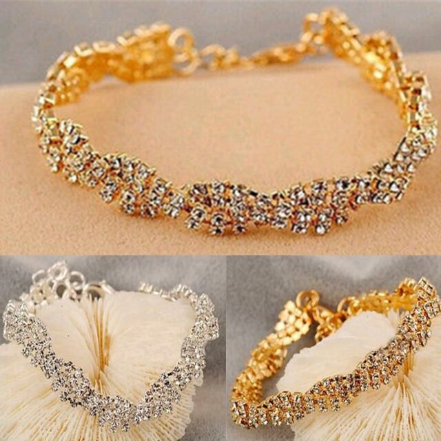 Fashion Women Gold Silver Clear Crystal Chain Simple Bracelet Charm Jewelry Gift