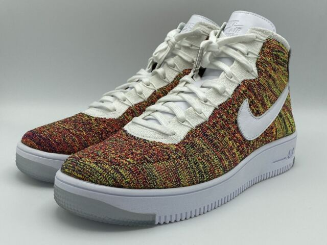 NIKE Air AF1 Ultra Flyknit Mid Mens Sz 11 White Multicolor 817420 700