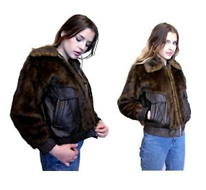 4a050370c Details about Aviator Fur Vinyl Bomber Jacket Brown Metallic Cropped Fluffy  Furry 90s Grunge