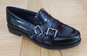 Details zu Patrick Cox Geox Respira Womens Buckled Black Leather Loafers Breathable Flats