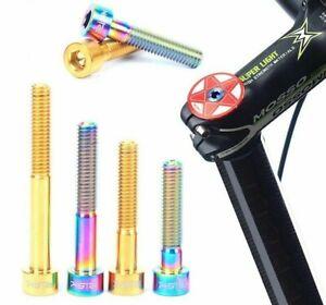 1Pc RISK M6*30//40//50mm Ti Alloy Bike Bicycle Headset Bolt Stem Top Cap Screw