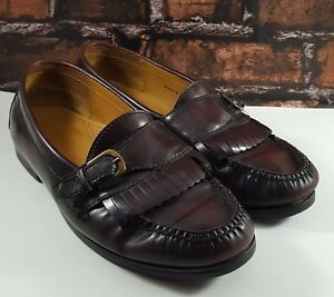 9a45b98a115 Image is loading Cole-Haan-Men-Burgundy-Leather-Pinch-Buckle-Kiltie-