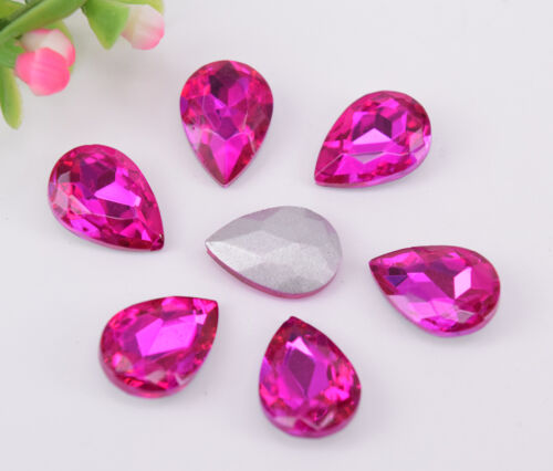 Rose red Glass Rhinestone Tear Drop Jewels Crystal Applique Size Selection