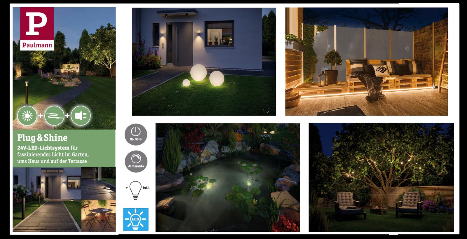 Paulmann Plug & Shine Garten Beleuchtungssortiment 24V Lichtsystem Plug&Shine