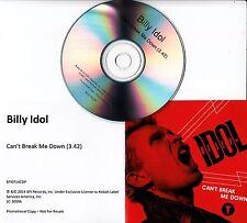 BILLY IDOL Can't Break Me Down 2014 UK 1-track promo CD